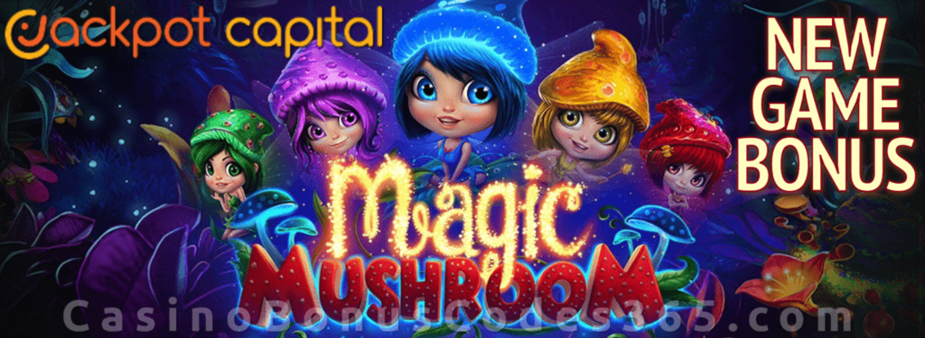 Jackpot Capital Magic Mushroom $1000 Bonus plus 20 FREE Spins Special New RTG Game Offer