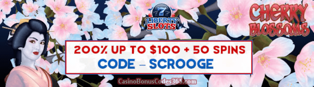 Liberty Slots 200% Match Bonus up to $100 Bonus plus 50 FREE WGS Cherry Blossoms Spins Special Xmas Welcome Pack