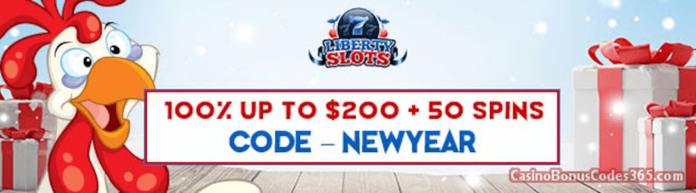 Liberty Slots 100% Match Bonus up to $200 Bonus plus 50 FREE WGS Funky Chicken Spins Special New Players Deal