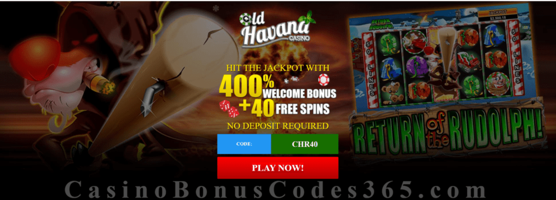 Old Havana Casino 400% Bonus plus 40 FREE RTG Return of the Rudolph Spins Special Thanksgiving Deal