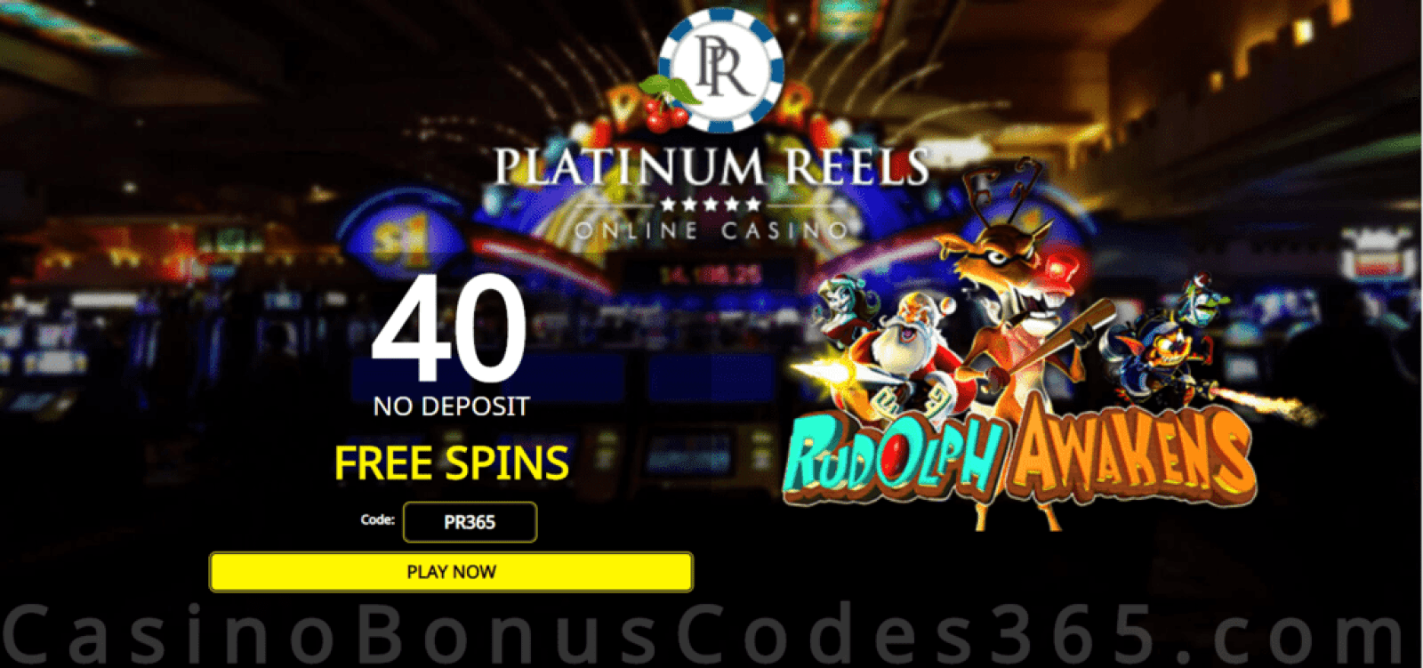 Platinum Reels Exclusive 40 FREE Spins on RTG Rudolph Awakens Special Offer