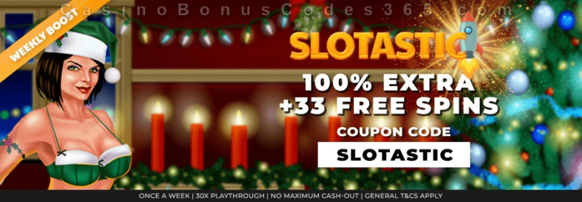 Slotastic Online Casino RTG Naughty or Nice Weekly Bonus Boost