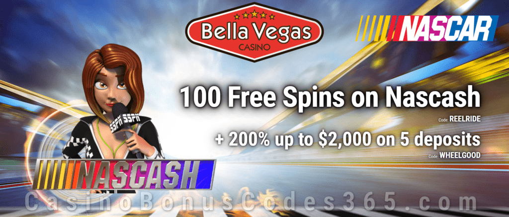 Bella Vegas Casino 100 FREE Spins on Saucify Nascash plus 200% Match Bonus Welcome Package