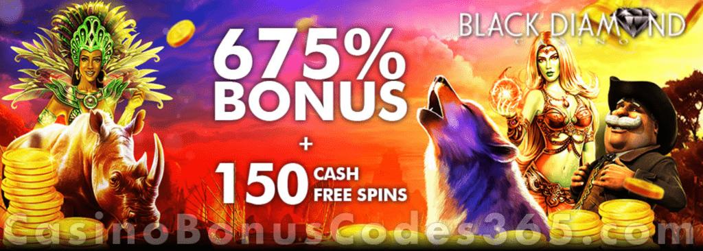 Black Diamond Casino 675 Match Bonus Plus 150 Free Spins On Top