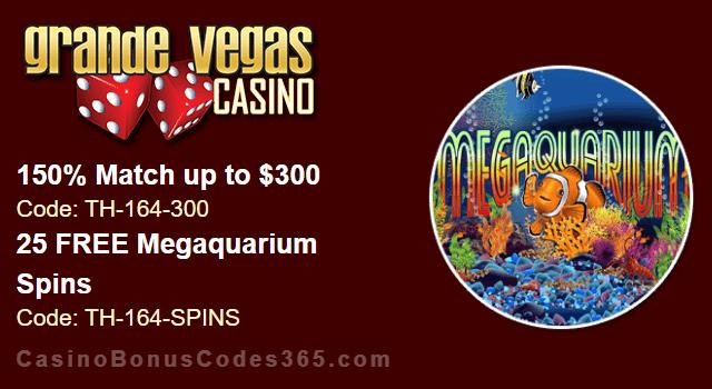 Grande Vegas Casino 150% up to $600 Bonus plus 25 FREE Spins on RTG Megaquarium Special Weekly Deal
