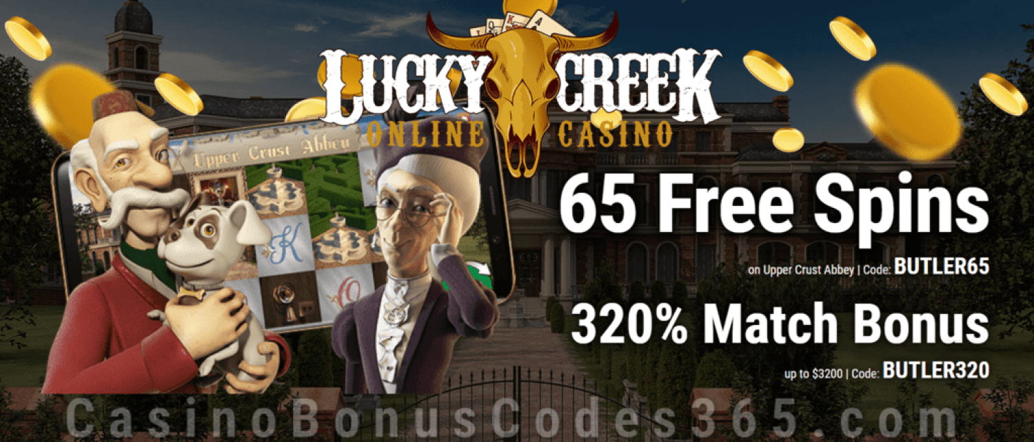 Lucky Creek 65 FREE Spins on Geiii Saucify Upper Crust Abbey plus 320% Match Bonus New Game Special Deal