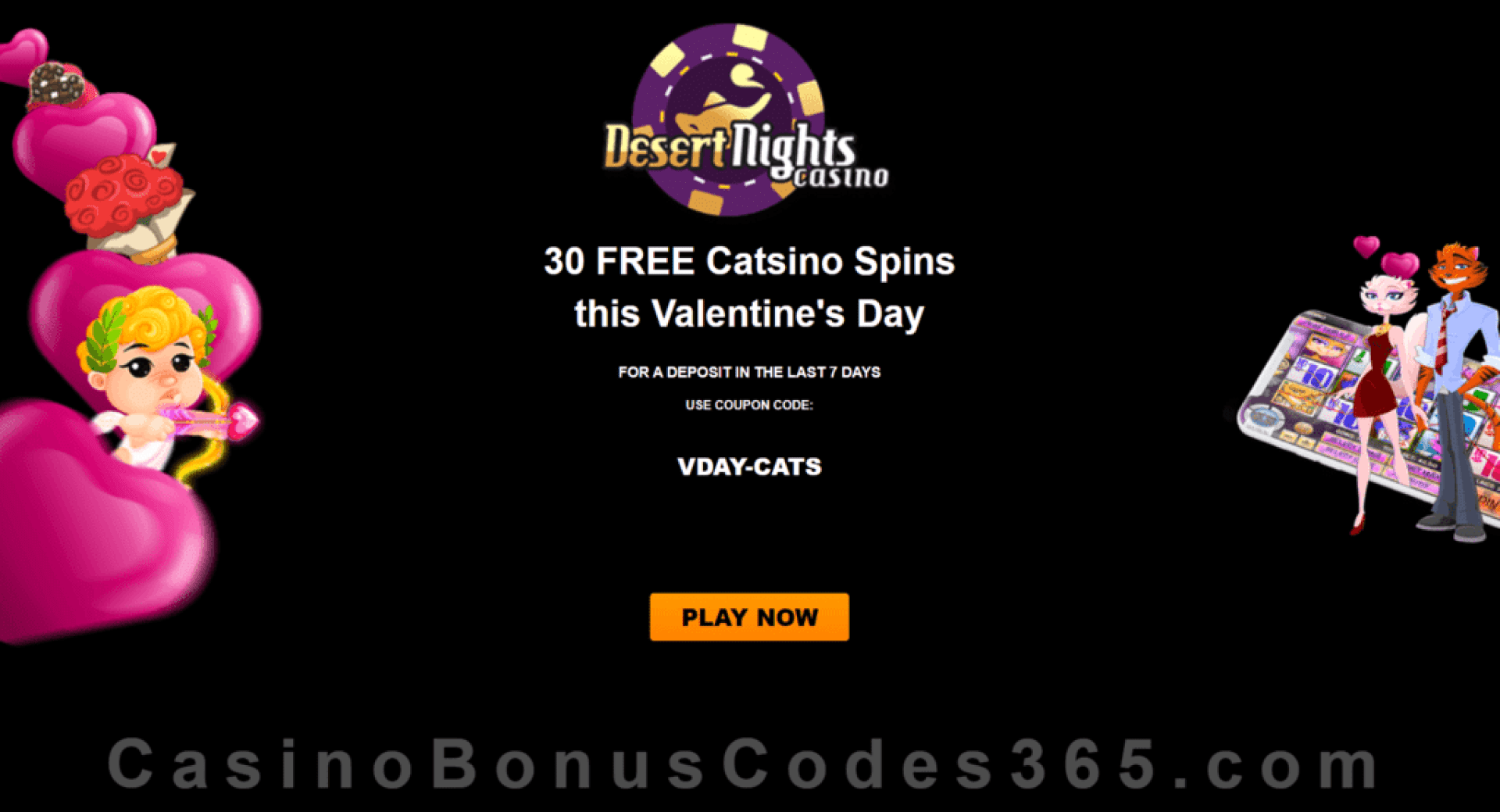 Desert Nights Casino 30 FREE Rival Gaming Catsino Spins Valentine's Day Offer