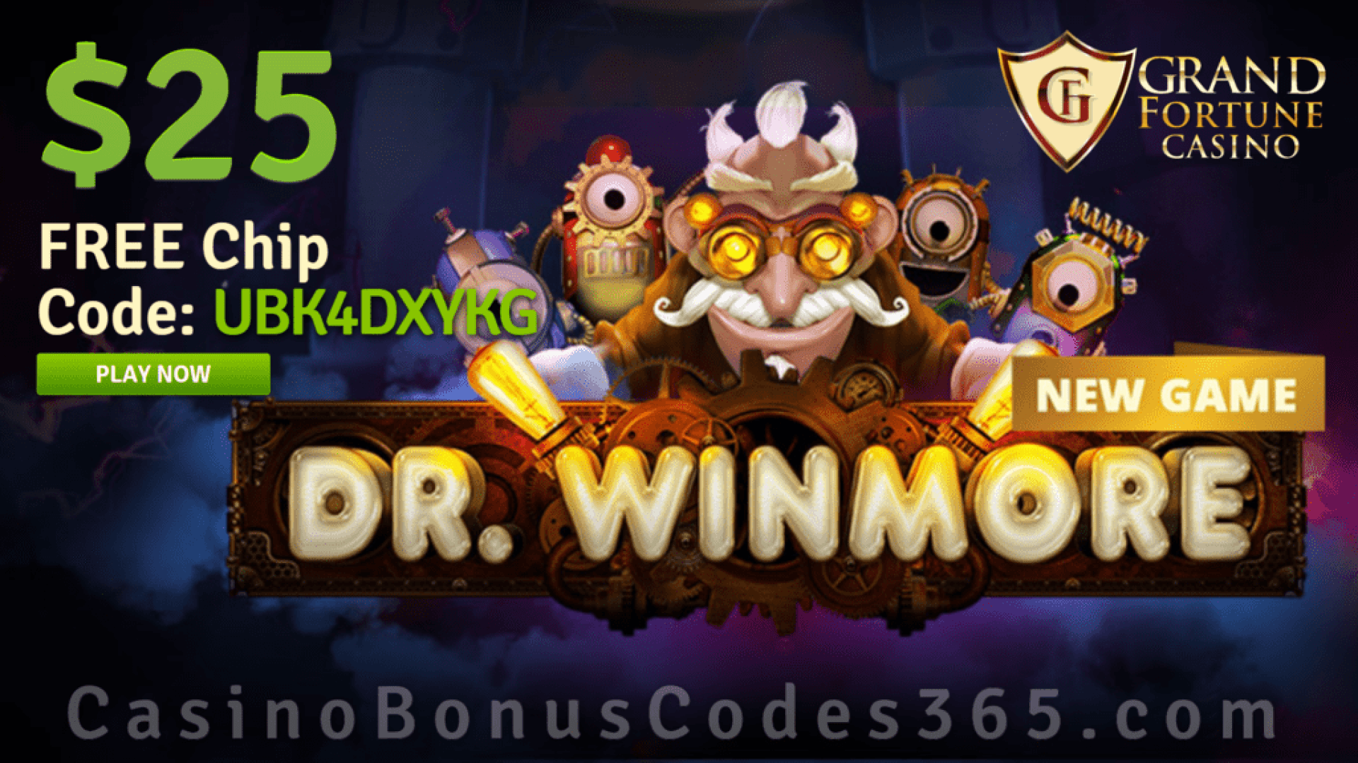 Grand Fortune Casino New RTG Game Dr. Winmore $25 FREE Chip No Deposit Deal
