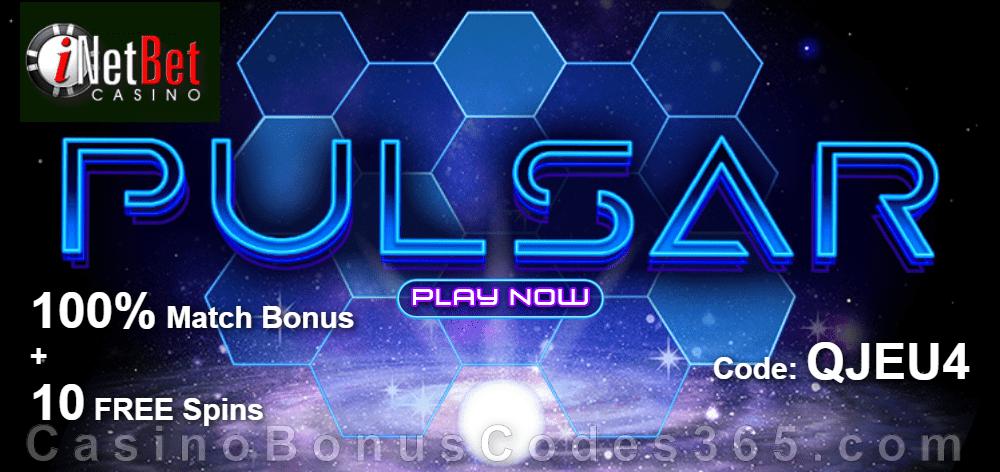 iNetBet Casino 100% Match plus 10 FREE Pulsar Spins New RTG Game Bonus Pack