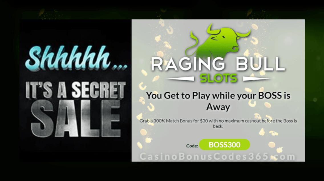 Raging Bull Casino 300% No Max Secret Sale Special Offer