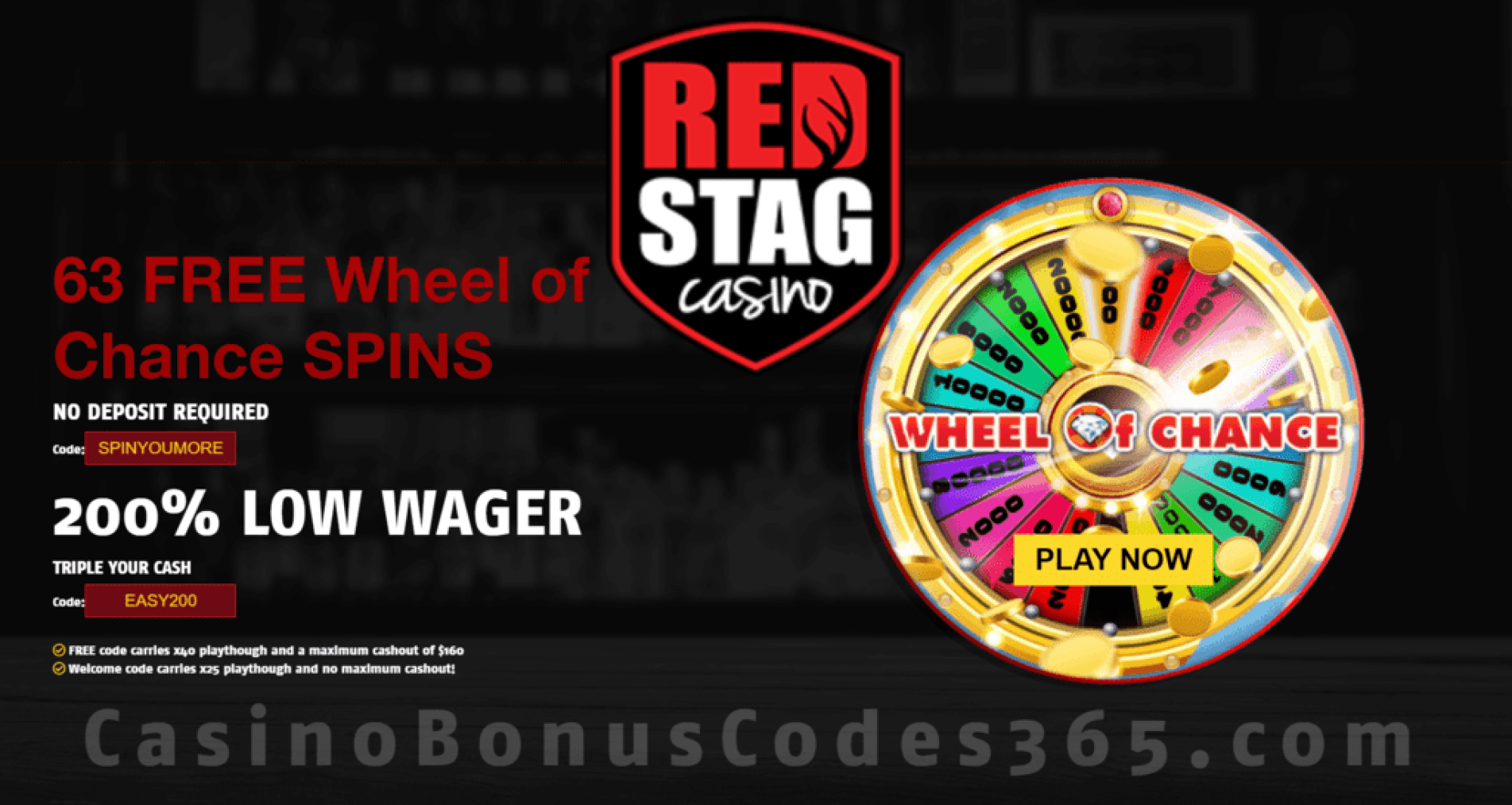 Red Stag Casino 63 FREE Wheel of WGS Chance Spins Special Offer
