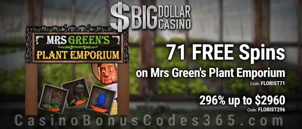 Big Dollar Casino 71 FREE Saucify Mrs Green's Plant Emporium Spins plus 296% Match Bonus Welcome Pack