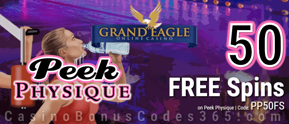 Grand Eagle Casino 50 FREE Saucify Peek Physique Spins Special No Deposit Promo