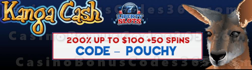 Liberty Slots 200% Match Bonus up to $100 Bonus plus 50 FREE WGS Kanga Cash Spins Welcome Deal
