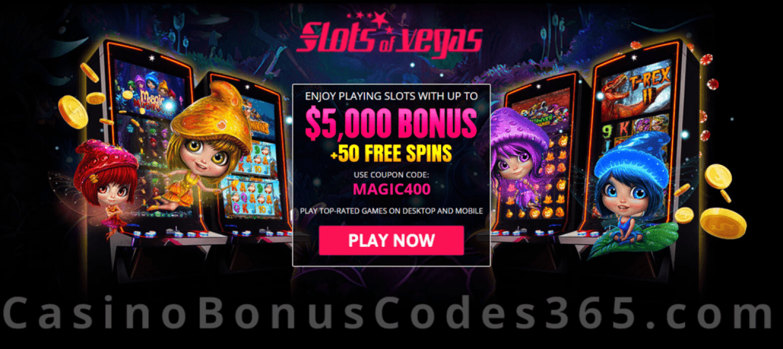 Slots of Vegas $5000 Bonus plus 50 FREE RTG Magic Mushroom Spins Welcome Package
