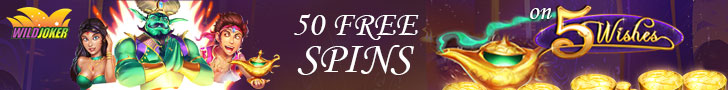 Wild Joker Casino 350% Match Bonus plus 50 FREE RTG 5 Wishes Spins Welcome Package