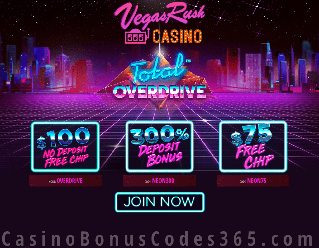 Vegas Rush Casino 175 Free Chip Plus 300 Match Bonus Total