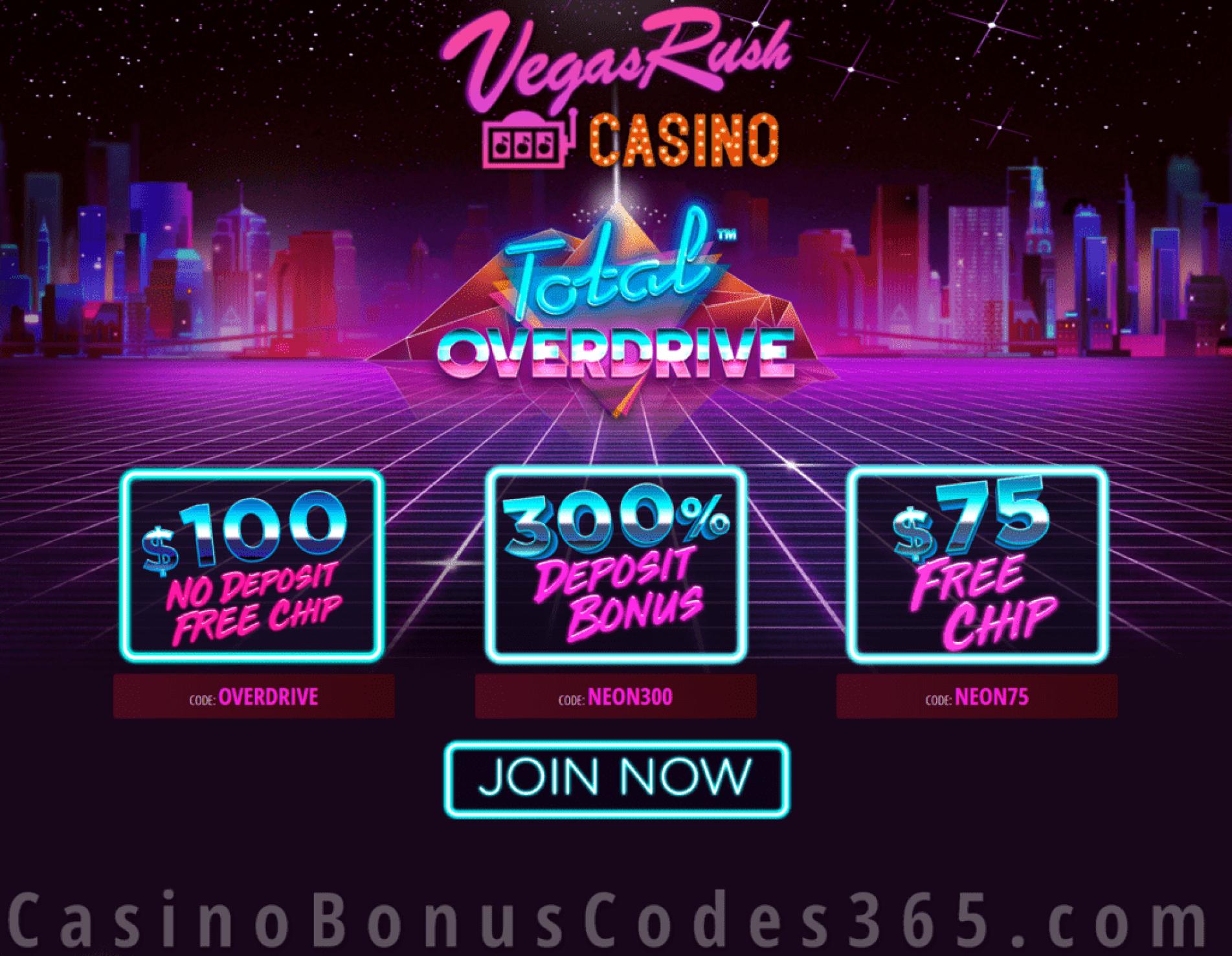 Vegas Rush Casino $175 FREE Chip plus 300% Match Bonus Betsoft Total Overdrive Special April Promo