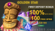 Golden Star Casino 100% Match plus 100 FREE Spins First Deposit Bonus