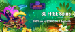 Jackpot Wheel 80 FREE Spins on Saucify Samba Spins plus 200% Match Special Welcome Bonus