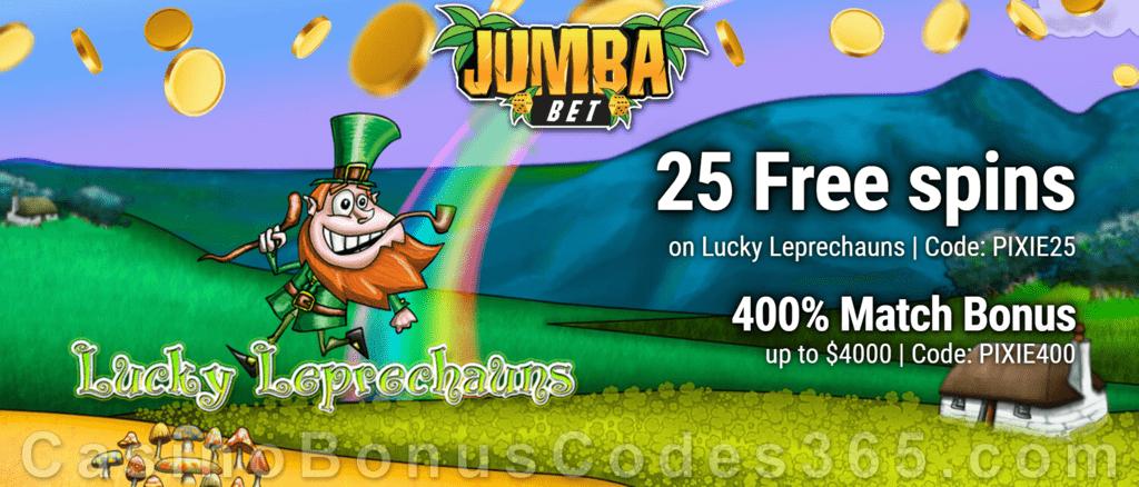 Jumba Bet 25 FREE Saucify Lucky Leprechauns Spins plus 400% Match Bonus Pack