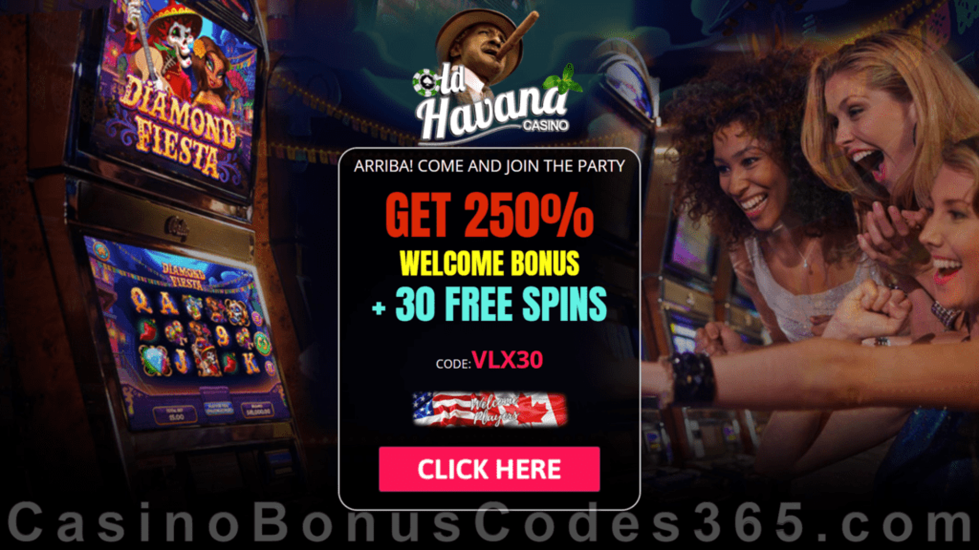 Old Havana Casino 30 FREE RTG Diamond Fiesta Spins Special No Deposit Deal