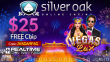 Silver Oak Online Casino New RTG Game Vegas Lux $25 FREE Chip Special Deal