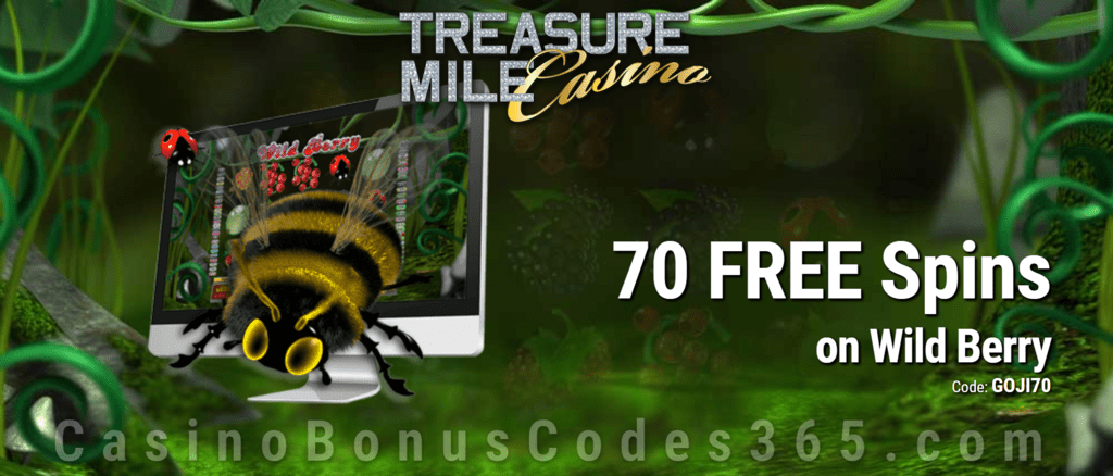 Treasure Mile Casino Exclusive 70 FREE Saucify Wild Berry Spins Special Deal