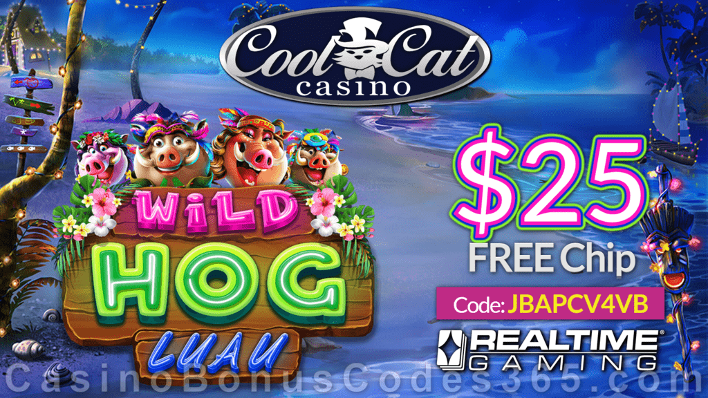 Coolcat Casino New Rtg Game Wild Hog Luau 25 Free Chip Special No