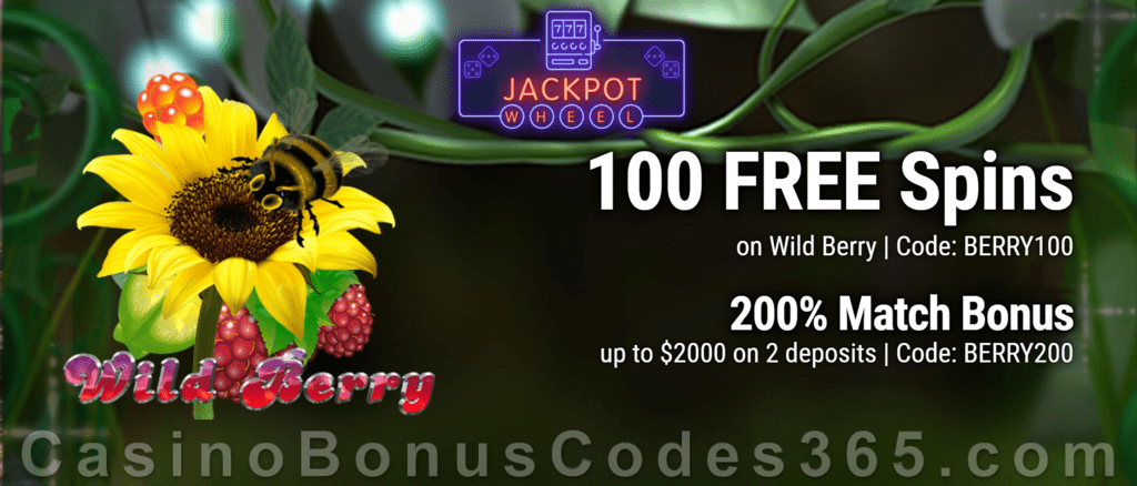 Jackpot Wheel 100 FREE Wild Berry Spins plus 200% Match Bonus Special New Players Deal