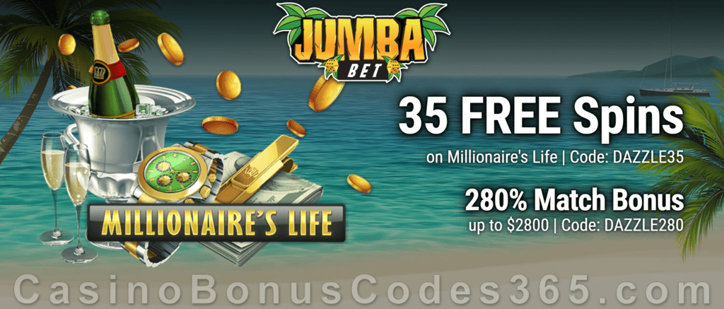 Jumba Bet 35 FREE Saucify Millionaire's Life Spins plus 280% Match Bonus New Players Offer