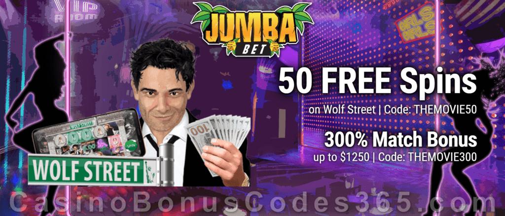 Jumba Bet 50 FREE Spins on Saucify Wolf Street plus 300% Match Welcome Bonus