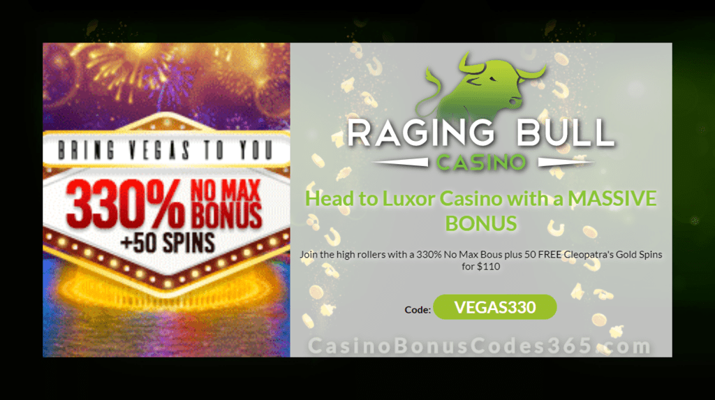 Raging Bull Casino 330 No Max Plus 50 Free Cleopatra S Gold Spins