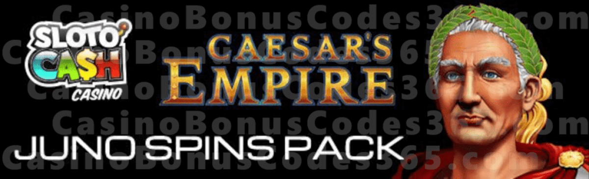 SlotoCash Casino June Goddess Juno Spins Pack RTG Caesar's Empire