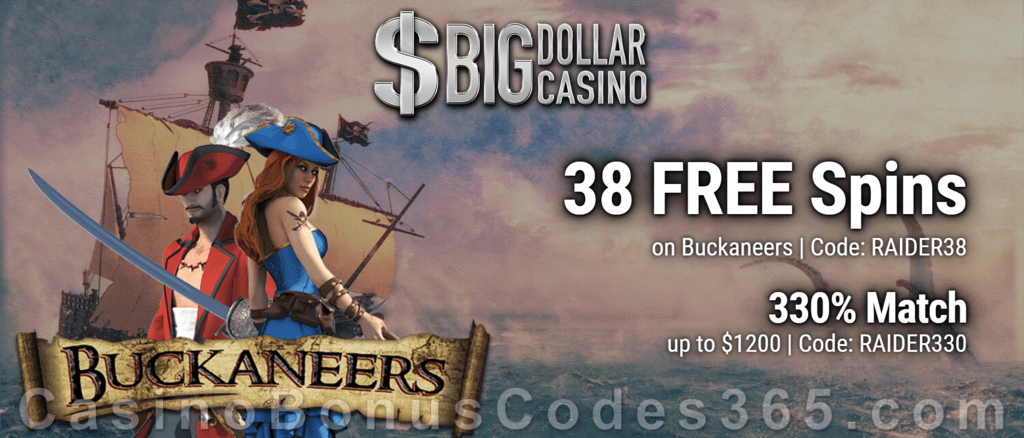 Big Dollar Casino 38 Free Spins On Buckaneers Plus 330 Match