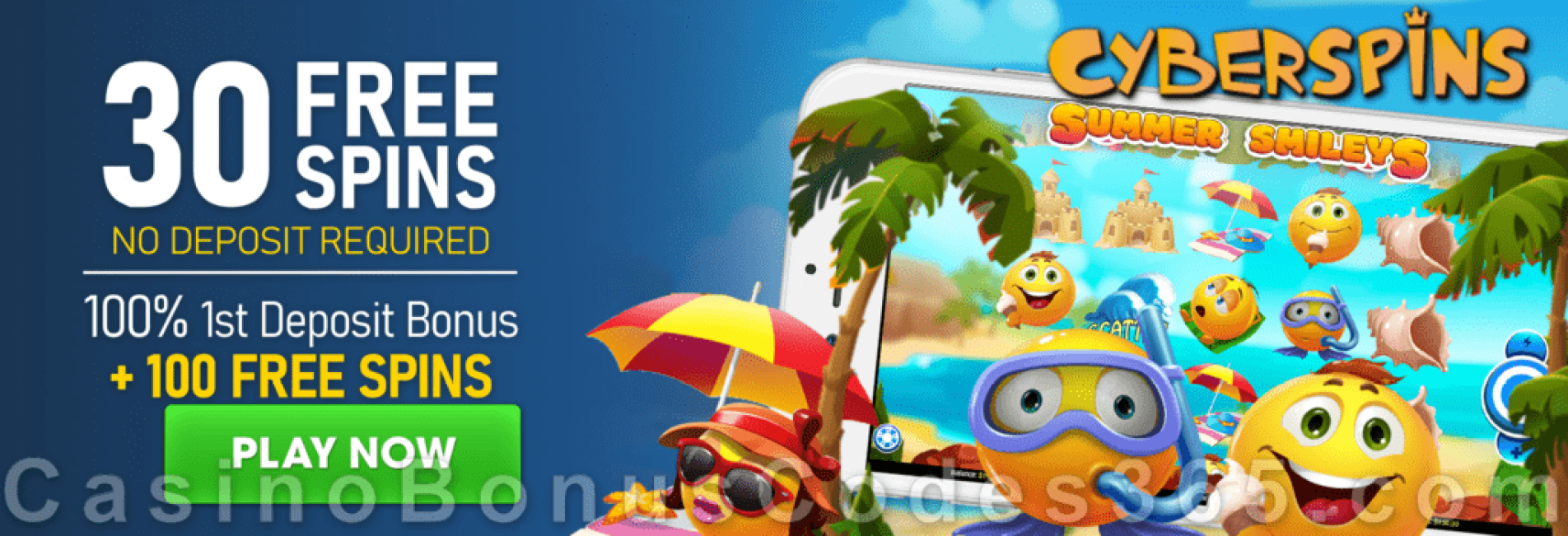 CyberSpins 30 FREE Spins on Mobilots Summer Smileys and 100% Match Bonus plus 100 FREE Spins Welcome Package