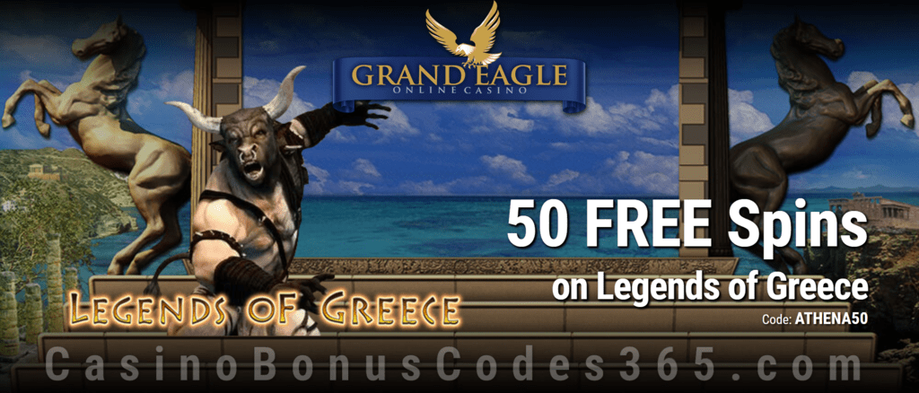 Grand Eagle Casino 50 FREE Spins on Saucify Legends of Greece Exclusive Deal