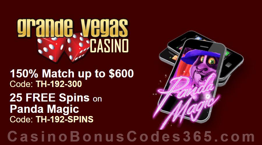Grande Vegas Casino 150% up to $600 Bonus plus 25 FREE RTG Panda Magic Spins Special Weekly Deal