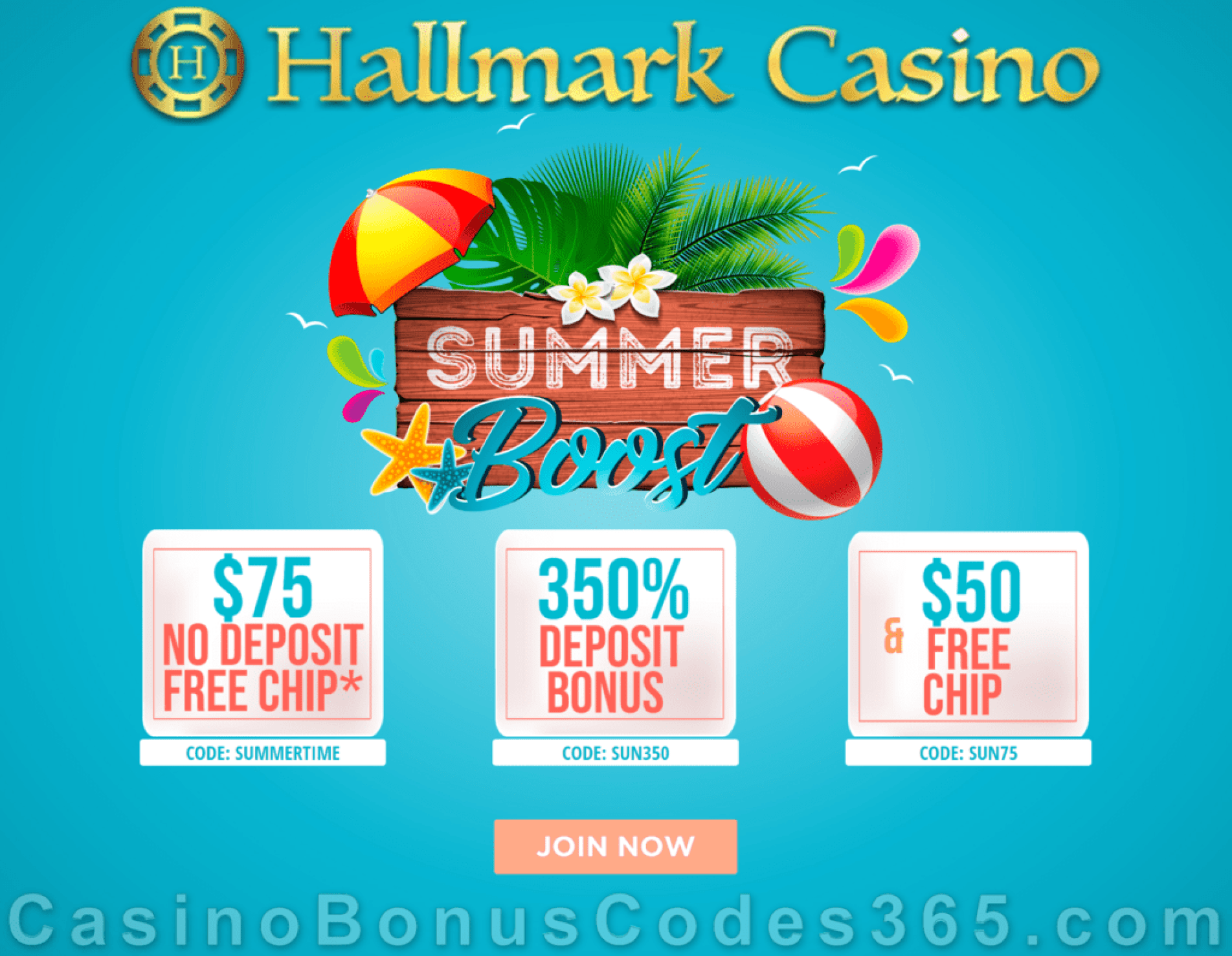 Hallmark Casino $125 FREE Chip plus 350% Match Bonus Summer Boost
