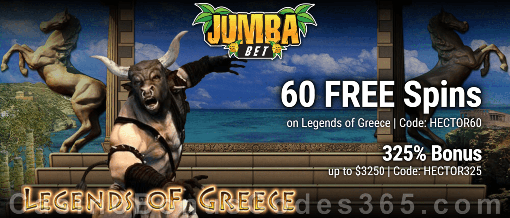 Jumba Bet 60 FREE Legends of Greece Spins plus 325% Match Bonus Welcome Deal