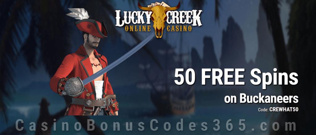 Lucky Creek 50 FREE Buckaneers Spins Exclusive No Deposit Offer