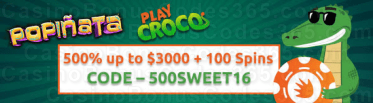 PlayCroco 500% Match up to $3000 plus 50 FREE Spins on RTG Popiñata New Players Special Welcome Bonus