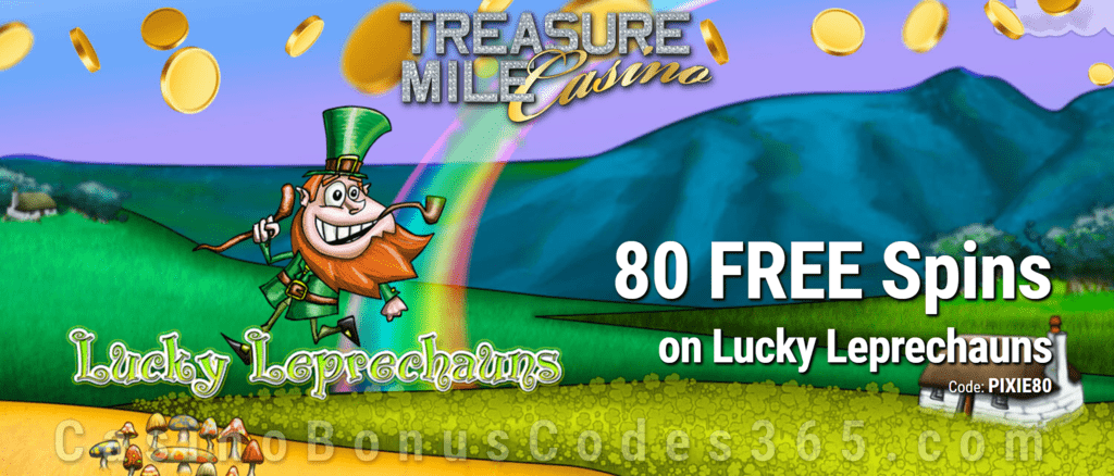 Treasure Mile Casino Exclusive 80 FREE Saucify Lucky Leprechauns Spins Special no Deposit Deal