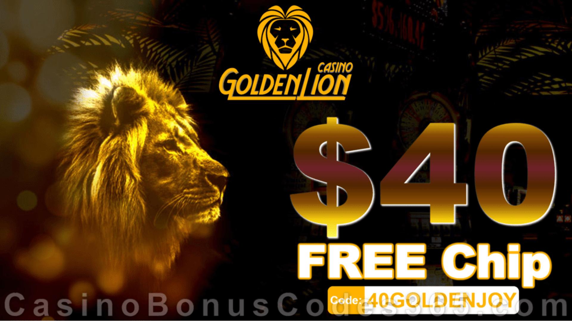 Golden Lion Casino Exclusive $40 No Deposit FREE Chip Welcome Bonus