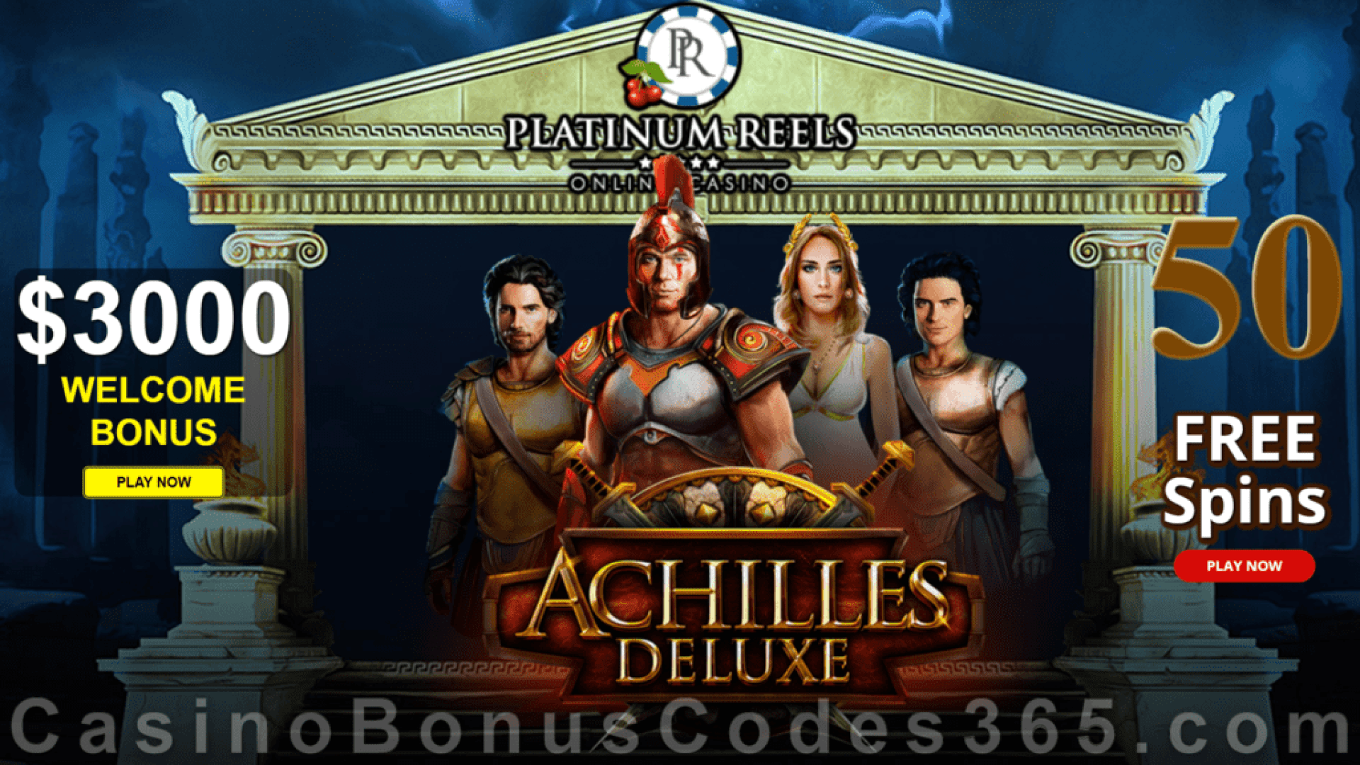 Platinum Reels 50 FREE Spins on Achilles Deluxe New RTG Game Special Deal