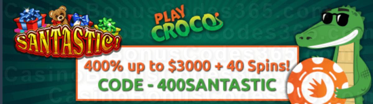 PlayCroco 400% Match up to $4000 Bonus plus 40 FREE RTG Santastic Spins Welcome Promo