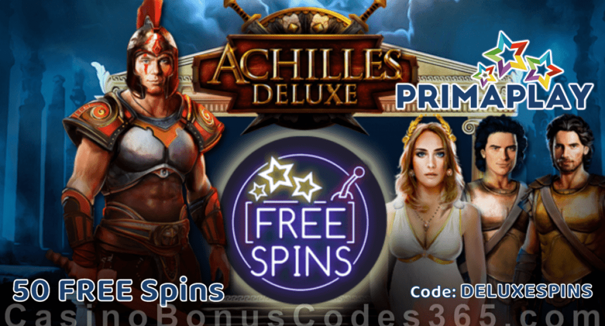 Prima Play New RTG Game Achilles Deluxe 50 FREE Spins Special Offer