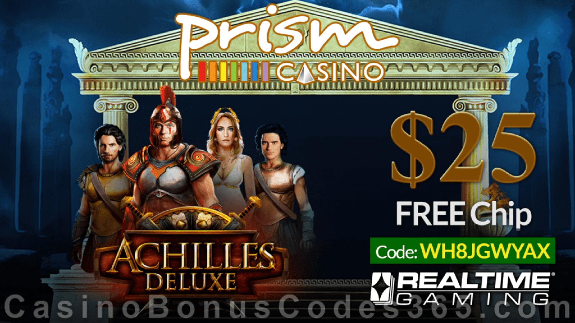 Prism Casino New RTG Game Achilles Deluxe $25 FREE Chip No Deposit Special Offer
