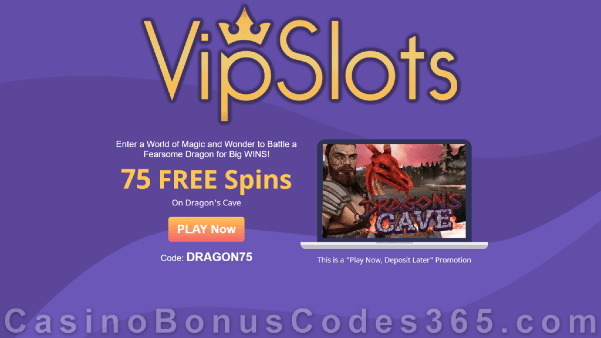 VipSlots Casino 75 No Deposit FREE Spins on Arrow's Edge Dragon's Cave August Promo