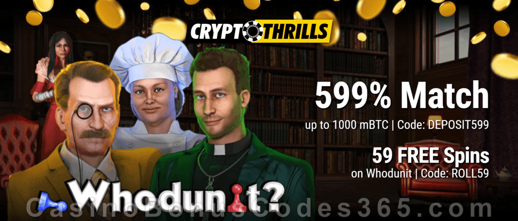 CryptoThrills Casino Fiat Converter 599% Match plus 59 FREE Spins Special Deal